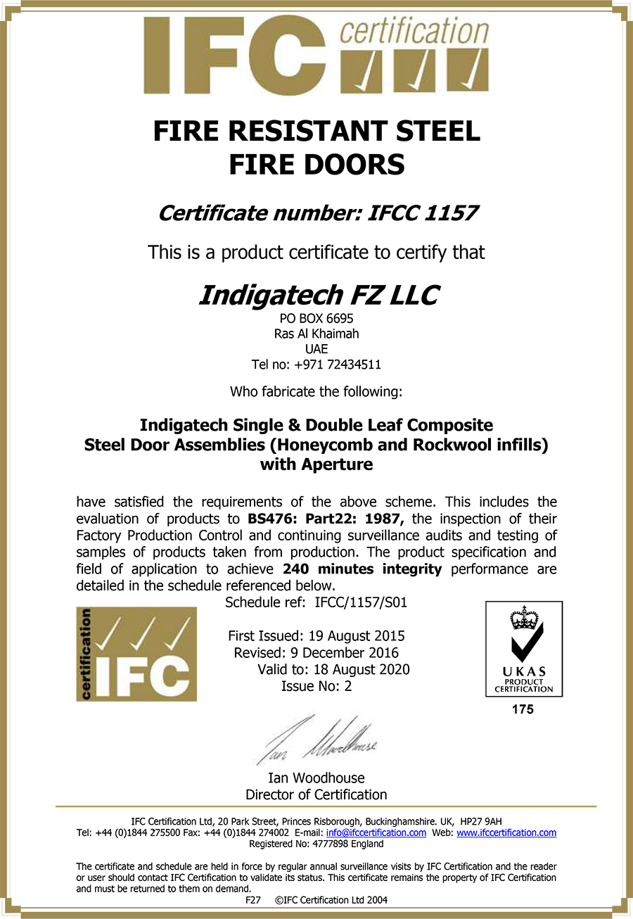 INDIGATECH SINGLE & DOUBLE LEAF STIFFENED STEEL DOOR ASSEMBLIES - IFCC-1157
